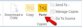 Navigate to a SharePoint library or folder and click on Tru paste to paste SharePoint files in Clipboard